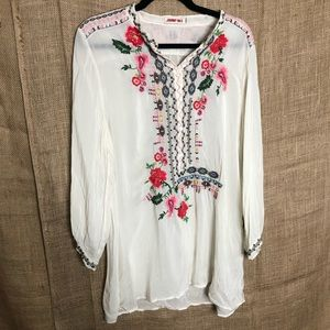 Johnny Was Tunic L Embroidered Shirt Long Sleeve